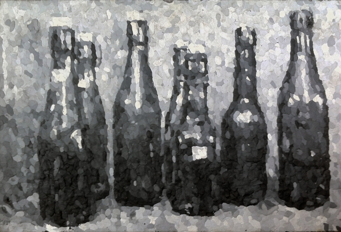 Henrik_Jacob_bottles_unknown_Knete_37x54cm_2014