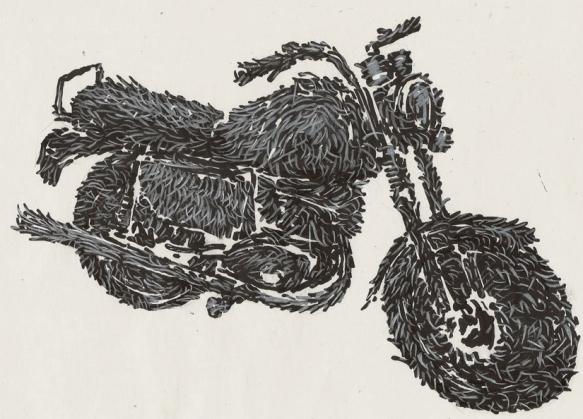 Zeichnung_Hairy Bike_2010_Edding-Buntstift auf Papier_30x20cm copy